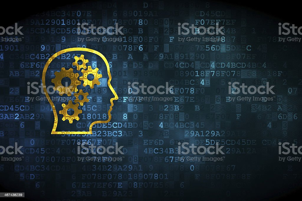 Gold head with gears on blue digital background stock photo