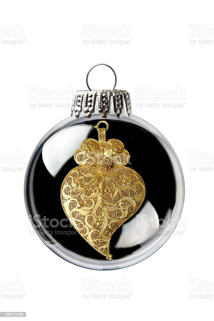 Gold Heart In a Christmas Ornament stock photo