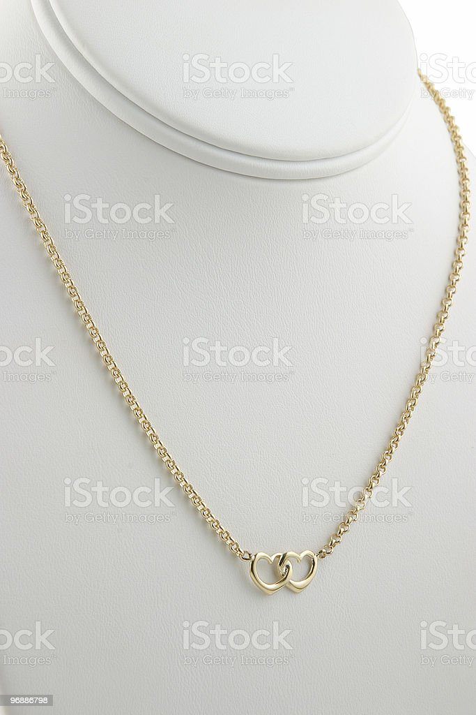 Gold Heart Necklace royalty-free stock photo