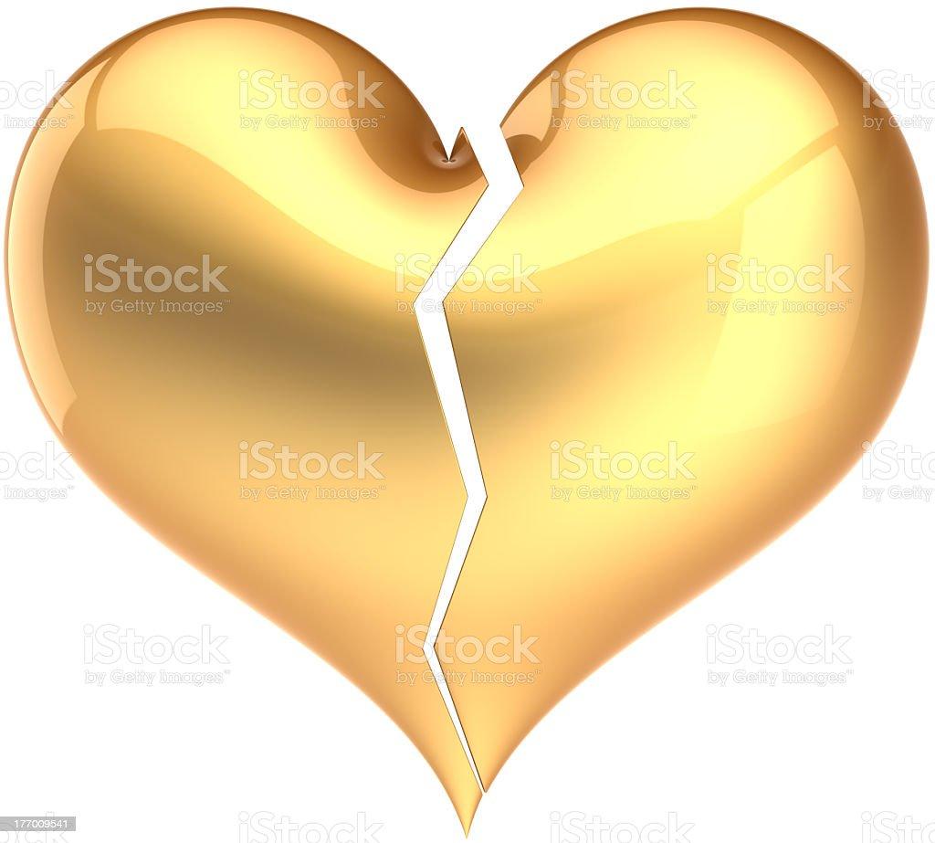 Gold Heart Shape Broken Failure Love Symbol Stock Photo More