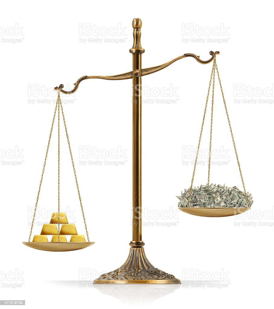 """Gold Heavier Than Money Concept: Gold prices are reaching record highs. There are a gold bars (ingot / bullion) at the one side of """"Scales of Justice"""" while there is a money on the other side. Gold bars seems heavier than money. Isolated on white background. American One Hundred Dollar Bill Stock Photo"""