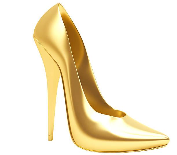 3D Gold High Heel stock photo
