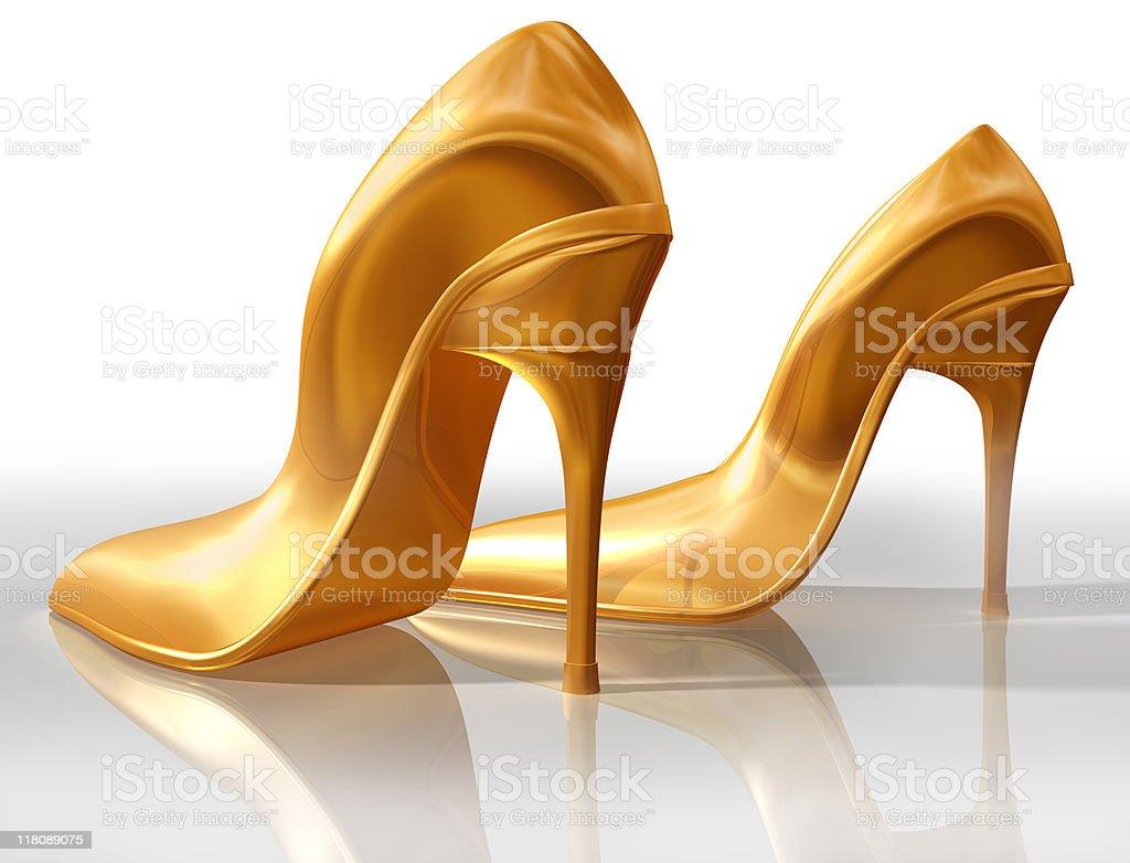 Gold high heels royalty-free stock photo