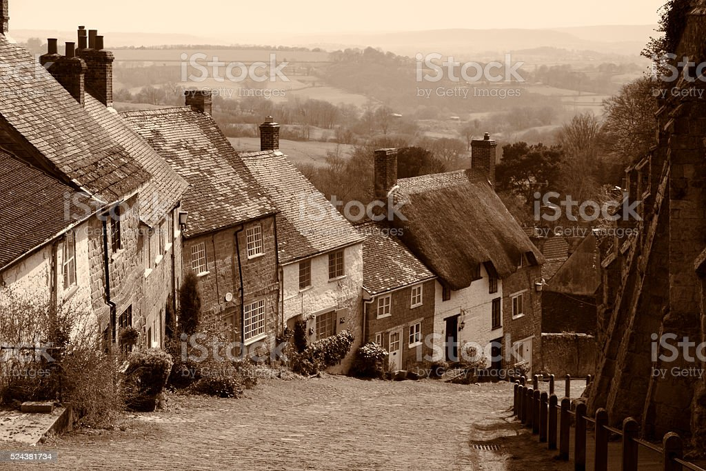 Gold Hill in the English village of Shaftesbury stock photo