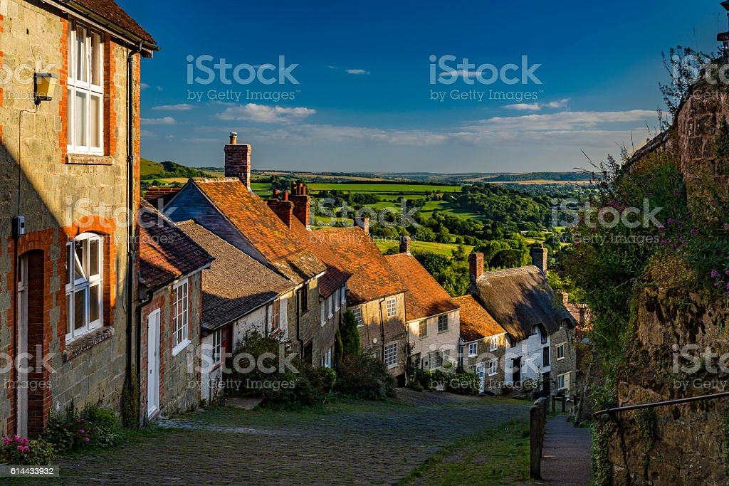 Gold Hill in the village of Shafetsbury, rural Dorset, UK stock photo