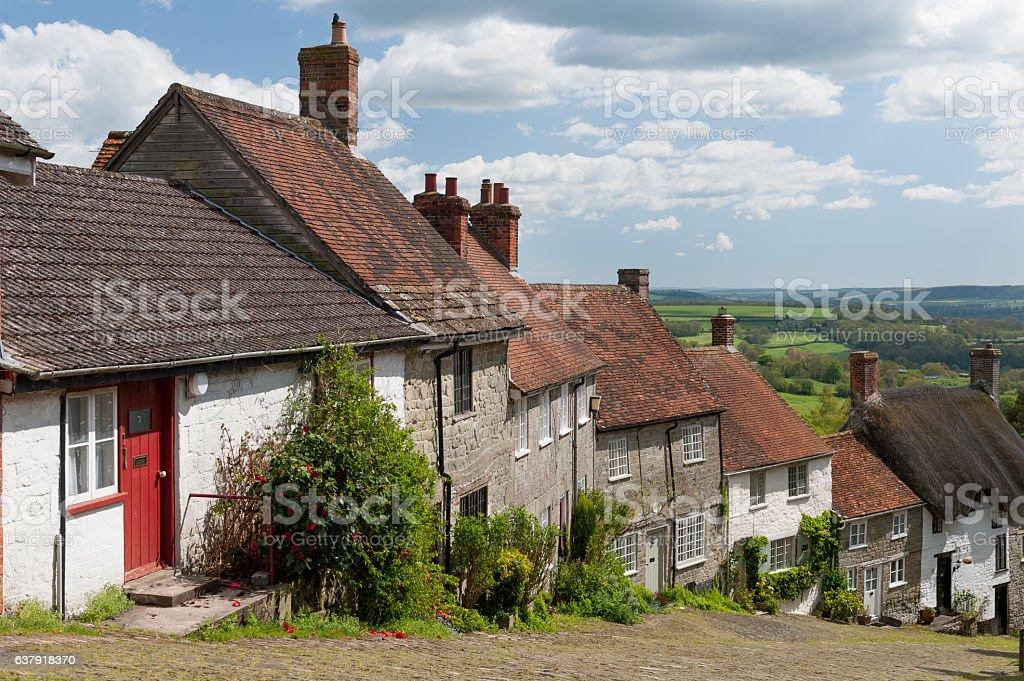 Gold Hill, Shaftesbury, Dorset, UK stock photo