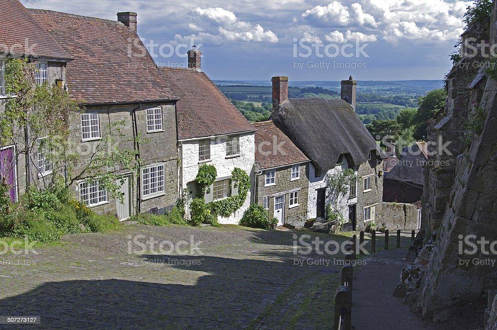 Gold Hill, Shaftesbury stock photo