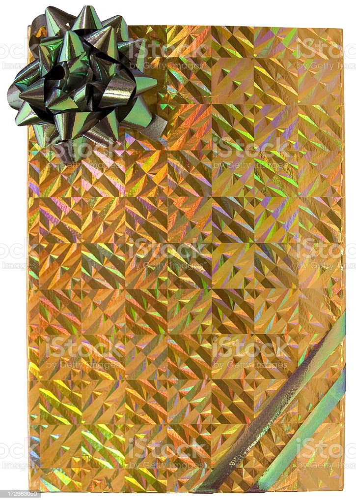 Gold holographic box with green bow royalty-free stock photo