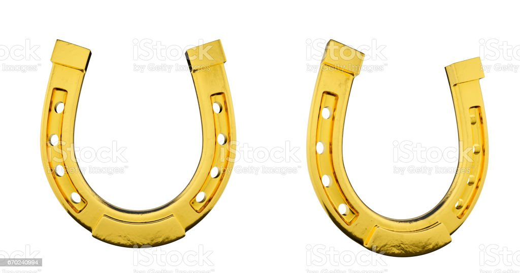 Gold Horseshoe On White Background stock photo