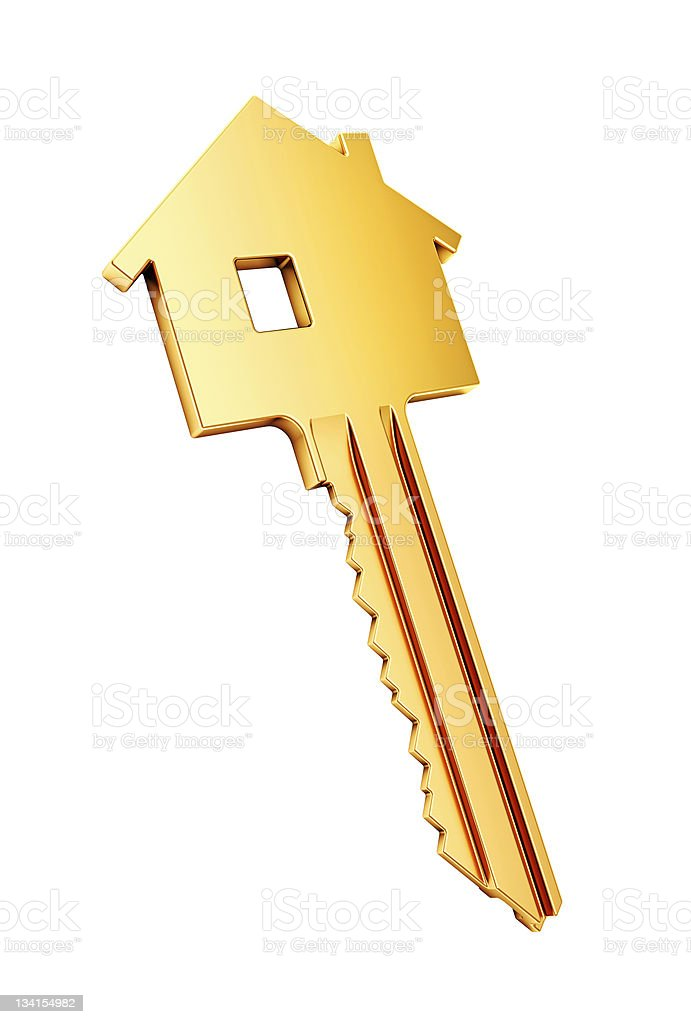 Gold House Key stock photo