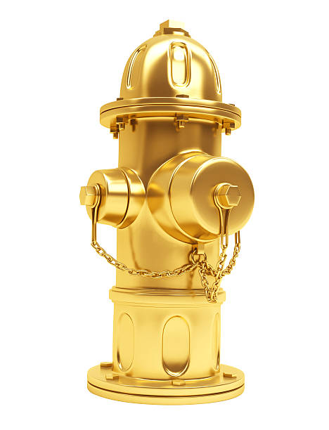 3D Gold Hydrant stock photo