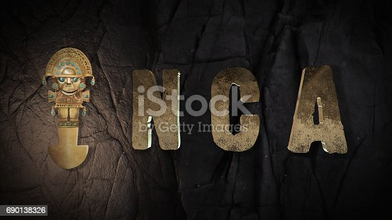istock Gold Inca 3d title with a Tumi 690138326