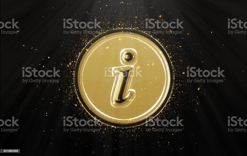 Gold information button icon stock photo