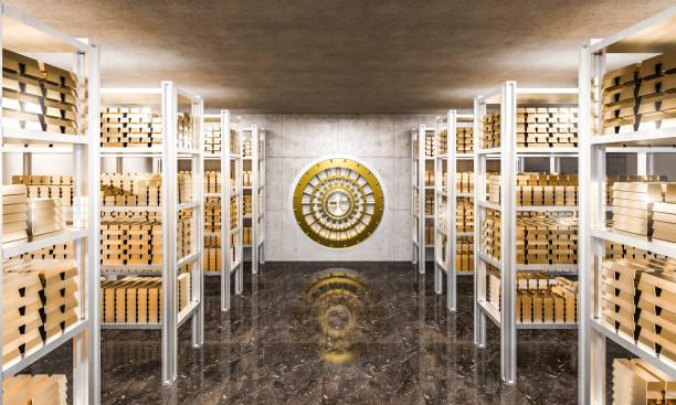 goldbarren in bank - safe stock-fotos und bilder