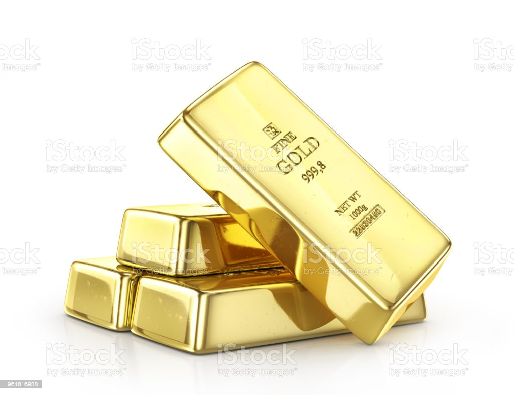 Gold ingot isolated on a white. 3d illustration stock photo