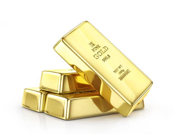 Lingote de ouro isolado em um branco. ilustração 3D - foto de acervo