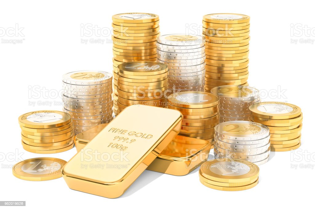 Gold ingots and euro coins, 3D rendering isolated on white background stock photo