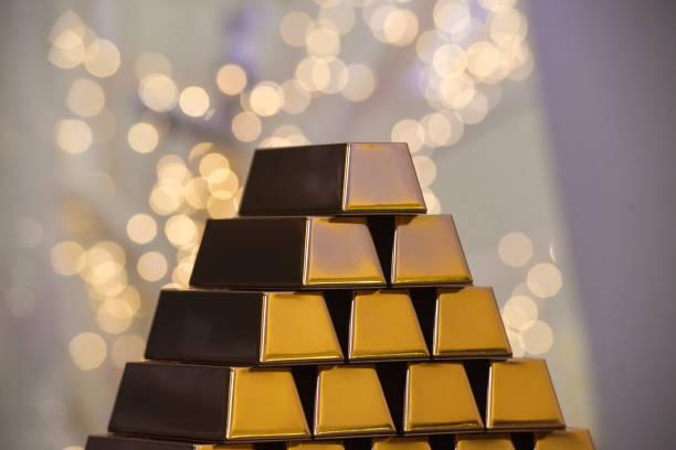 Gold ingots stock photo