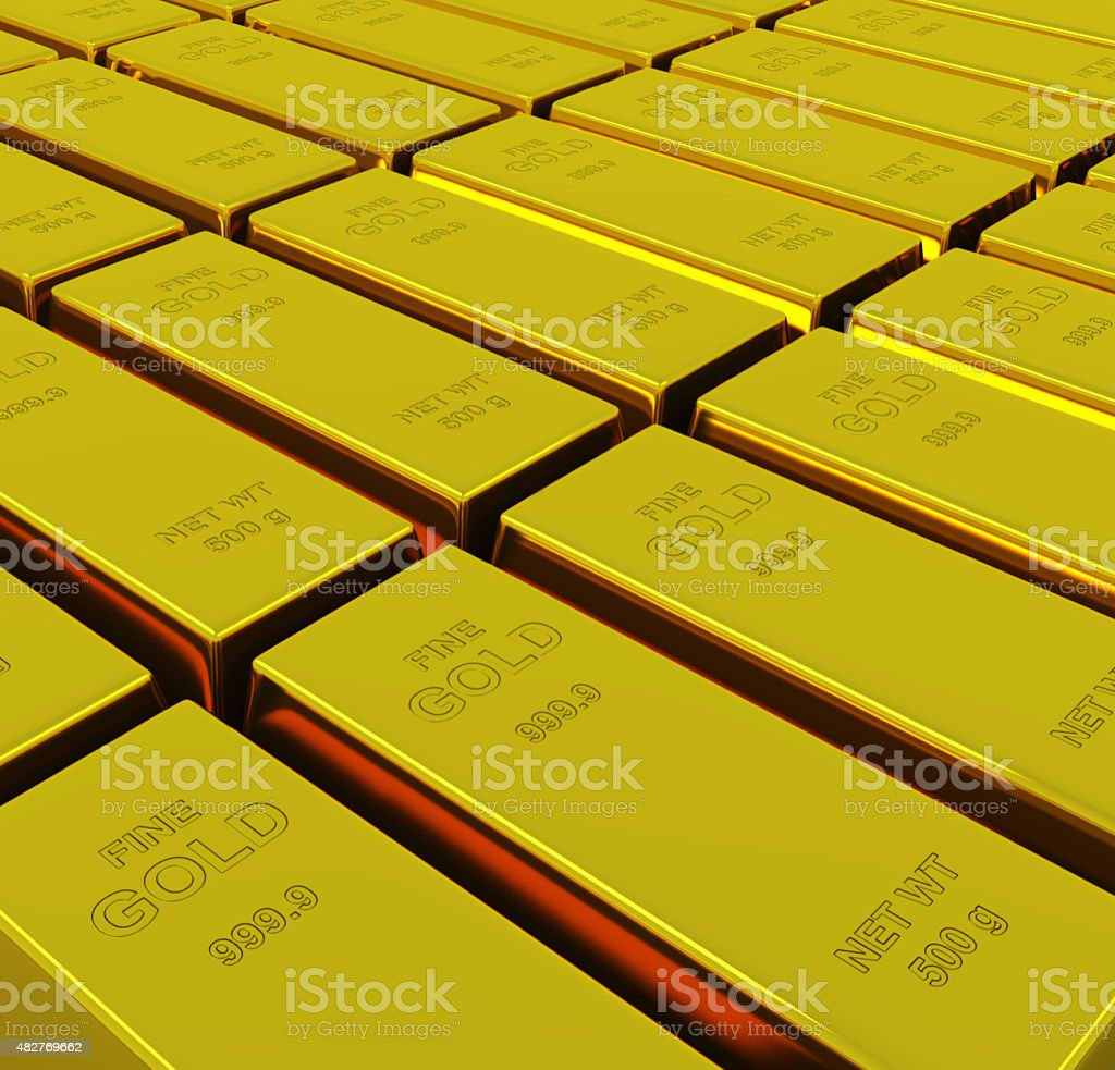 Gold ingots with depth of field stock photo