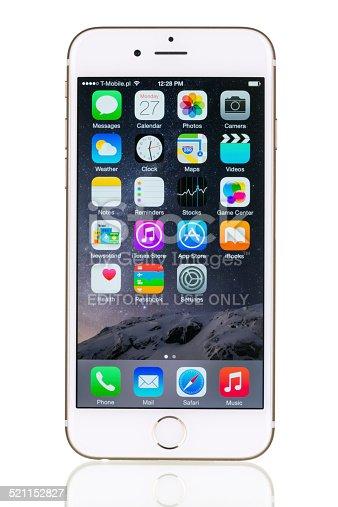 istock Gold iPhone 6 isolated on white studio product shot 521152827