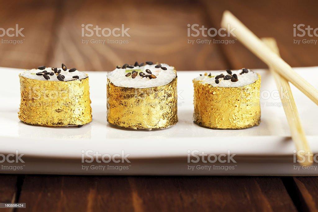 Gold Japanese Sushi stock photo