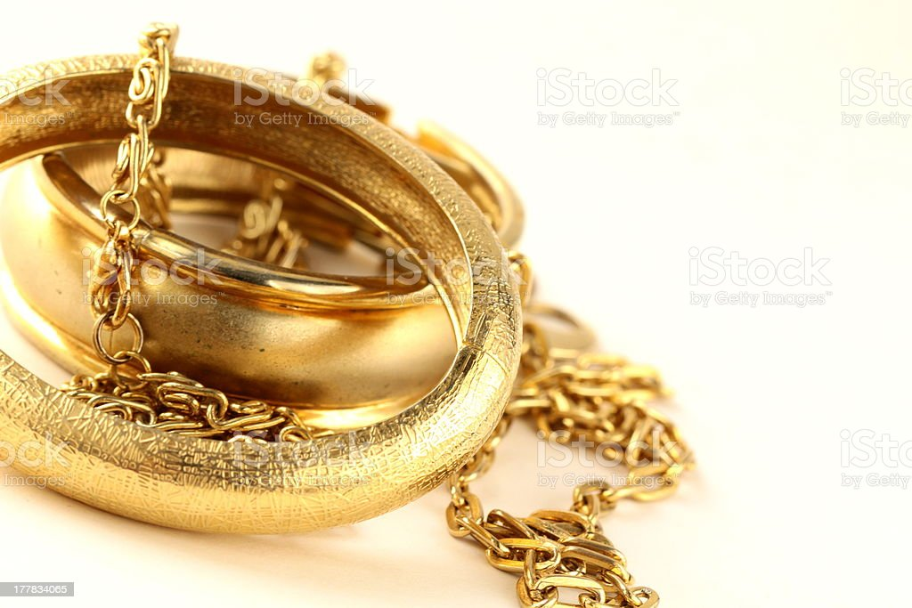 gold jewelry, bracelets and chains royalty-free stock photo