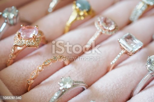 Gold jewelry diamond rings in box