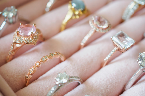 istock Gold jewelry diamond rings in box 1053261340