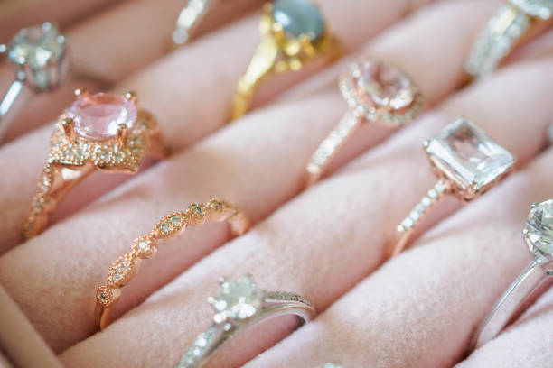 Gold jewelry diamond rings in box stock photo
