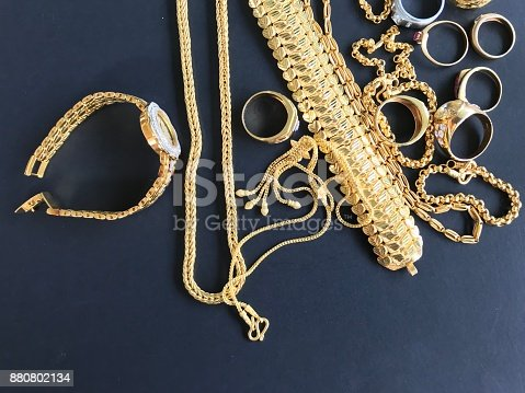 istock Gold jewelry for personal accessories 880802134