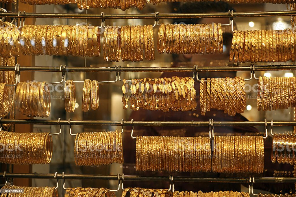 Gold jewelry for sale in the market, Deira, Dubai royalty-free stock photo
