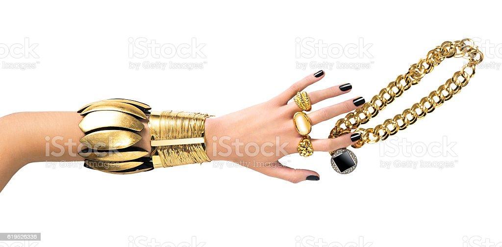 Gold jewelry - Royaltyfri Armband Bildbanksbilder
