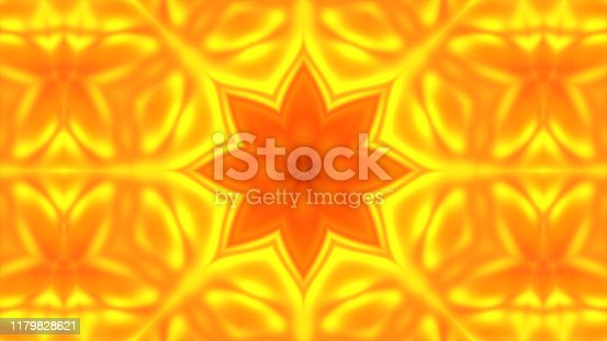 istock Gold kaleidoscope flower patterns, Abstract background animation 3D rendering 1179828621
