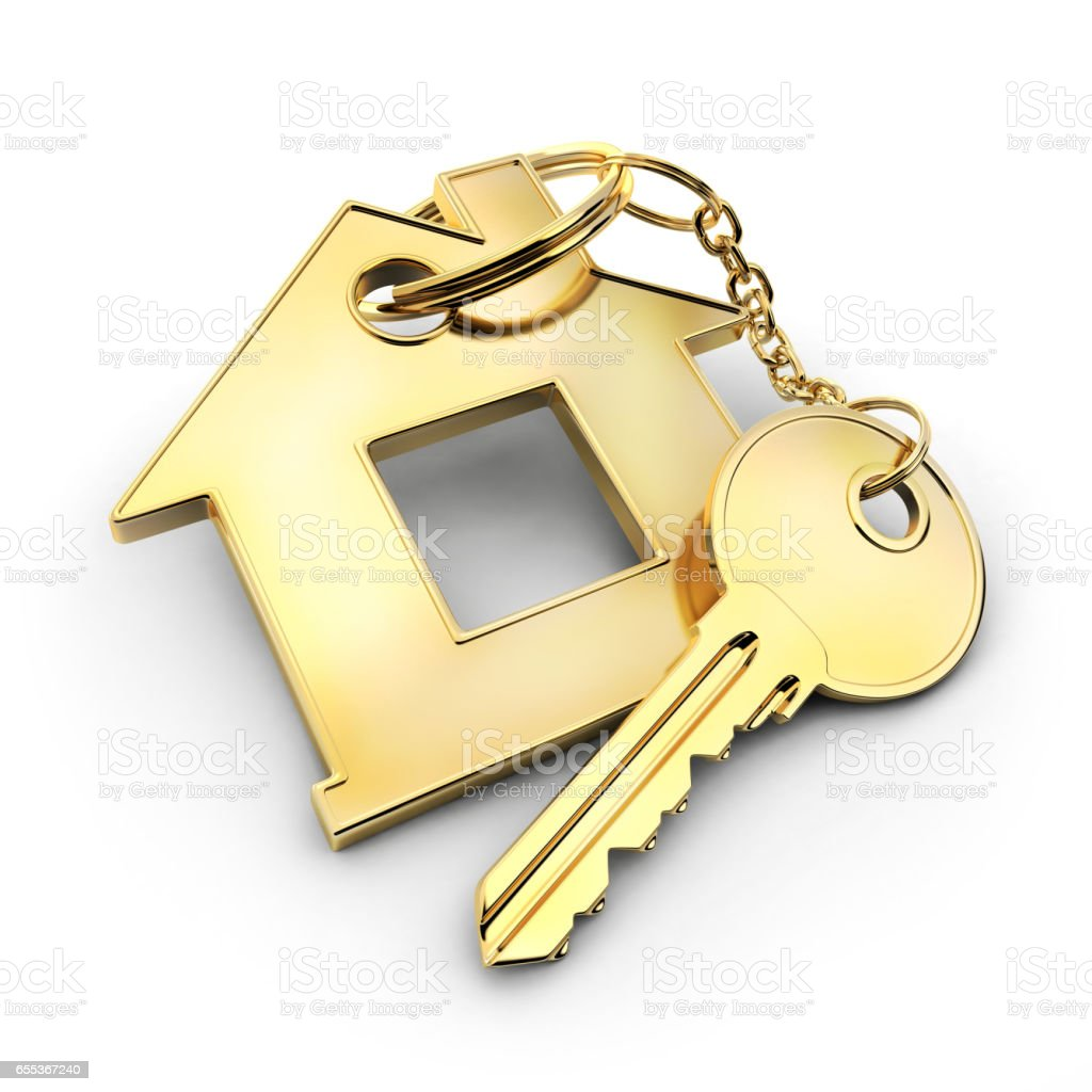 Gold key and home stock photo