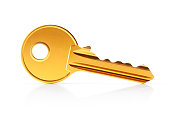 Golden key on white background. Photo with clipping path.