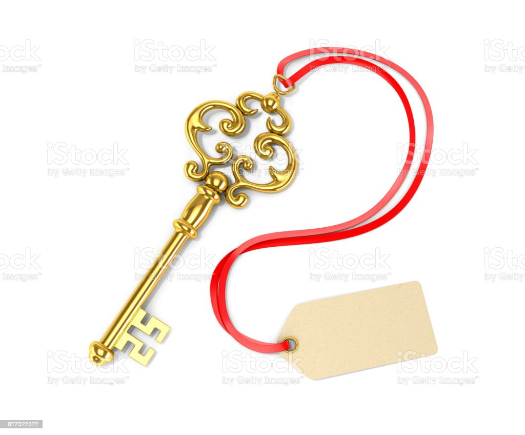 Gold key with tags. 3D illustration stock photo