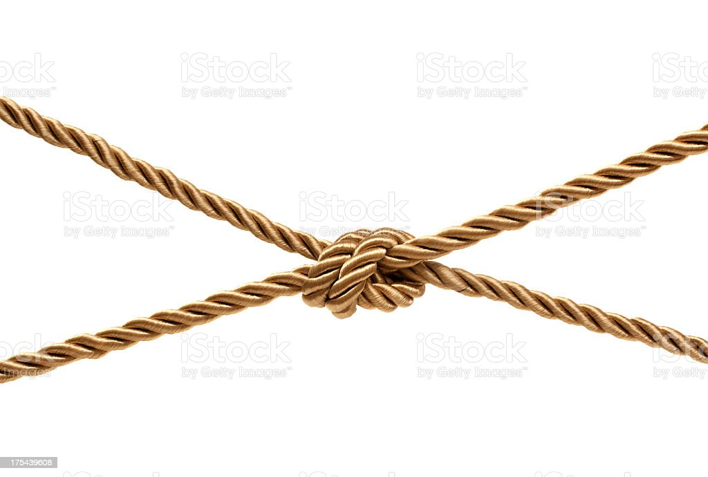 Gold Knot (Clipping path!) isolated on white background stock photo