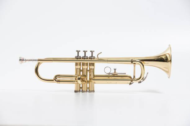 골드 래커 트럼펫 마우스 피스 화이트에 격리와 - 트럼펫 뉴스 사진 이미지