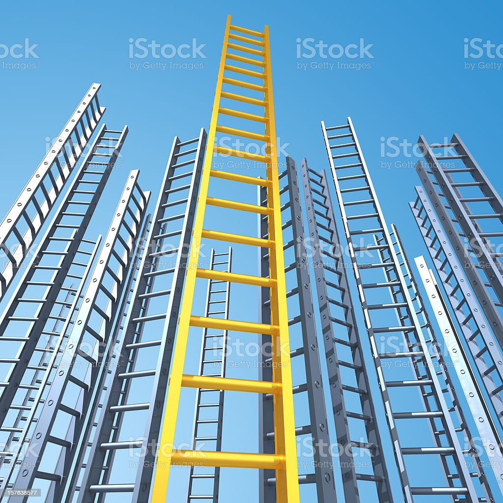 Gold ladder to success royalty-free stock photo