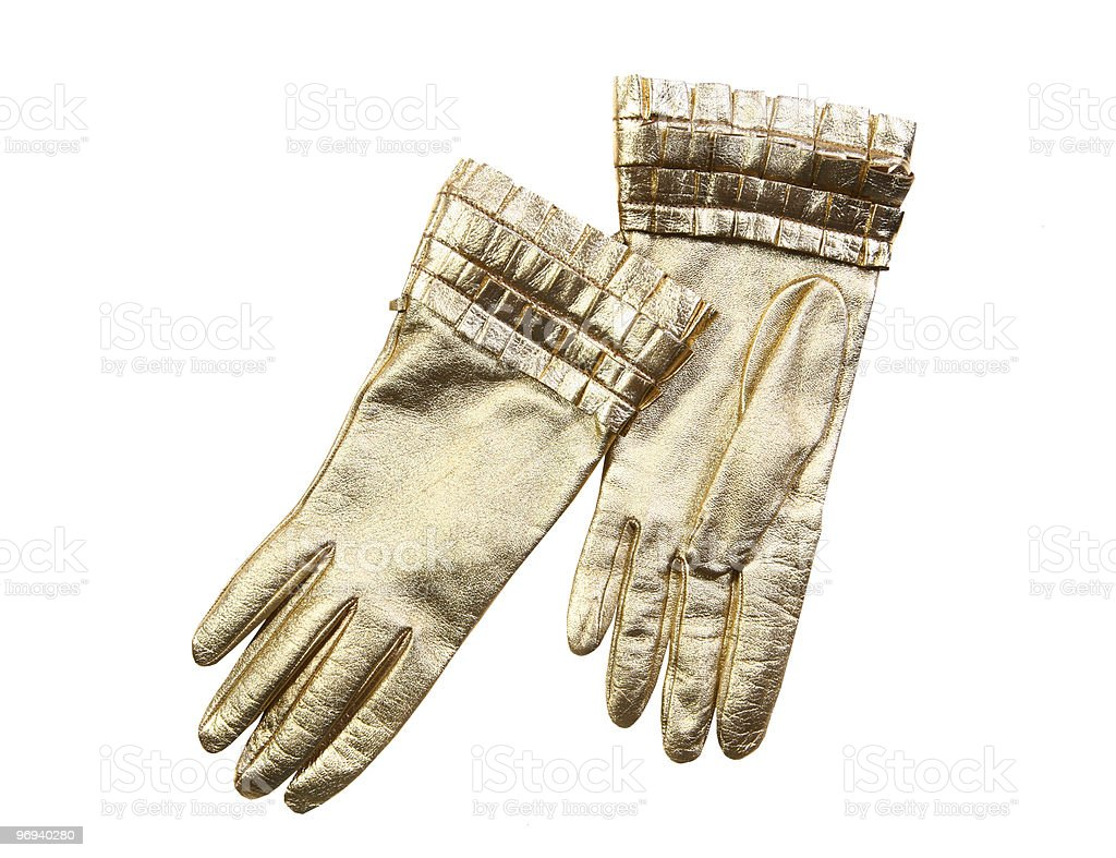 gold leather gloves royalty-free stock photo