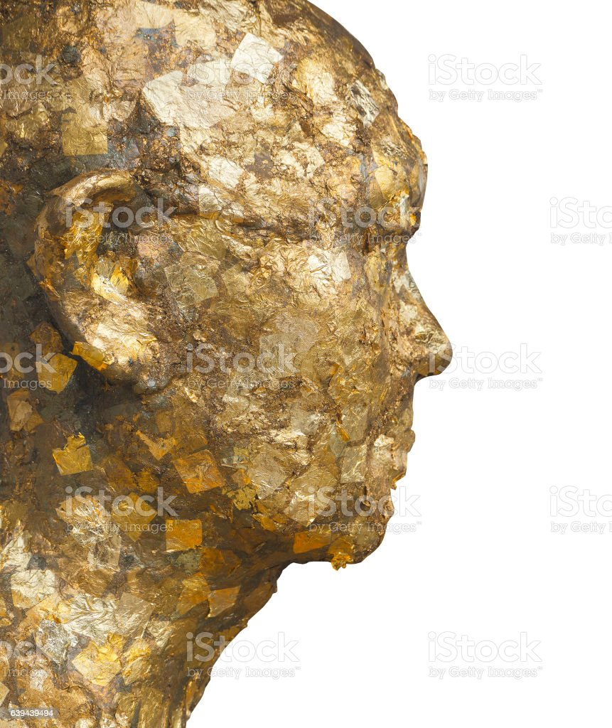 Gold Leaves  on Monk Statue Face Isolated on White Background stock photo