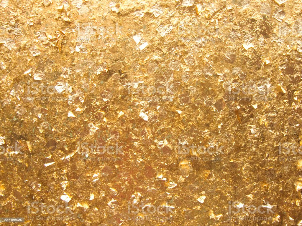 Close up wallpaper of golden background, The gold leaves texture in...