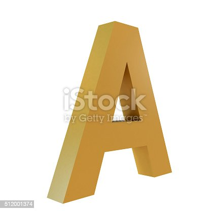 istock 3D Gold Letter A 512001374