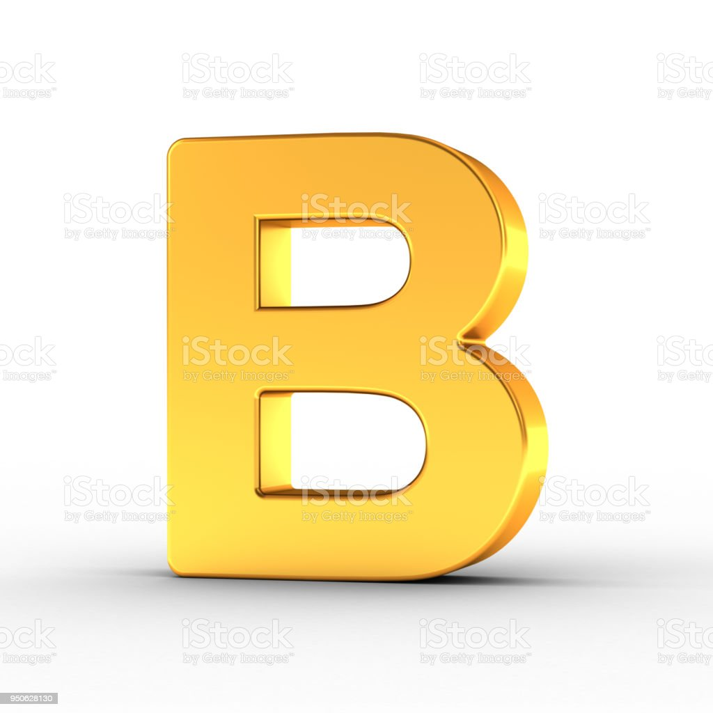 Gold Letter B with clipping path - foto stock