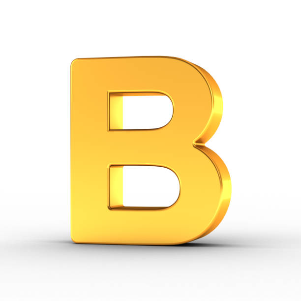 Gold Letter B with clipping path stock photo