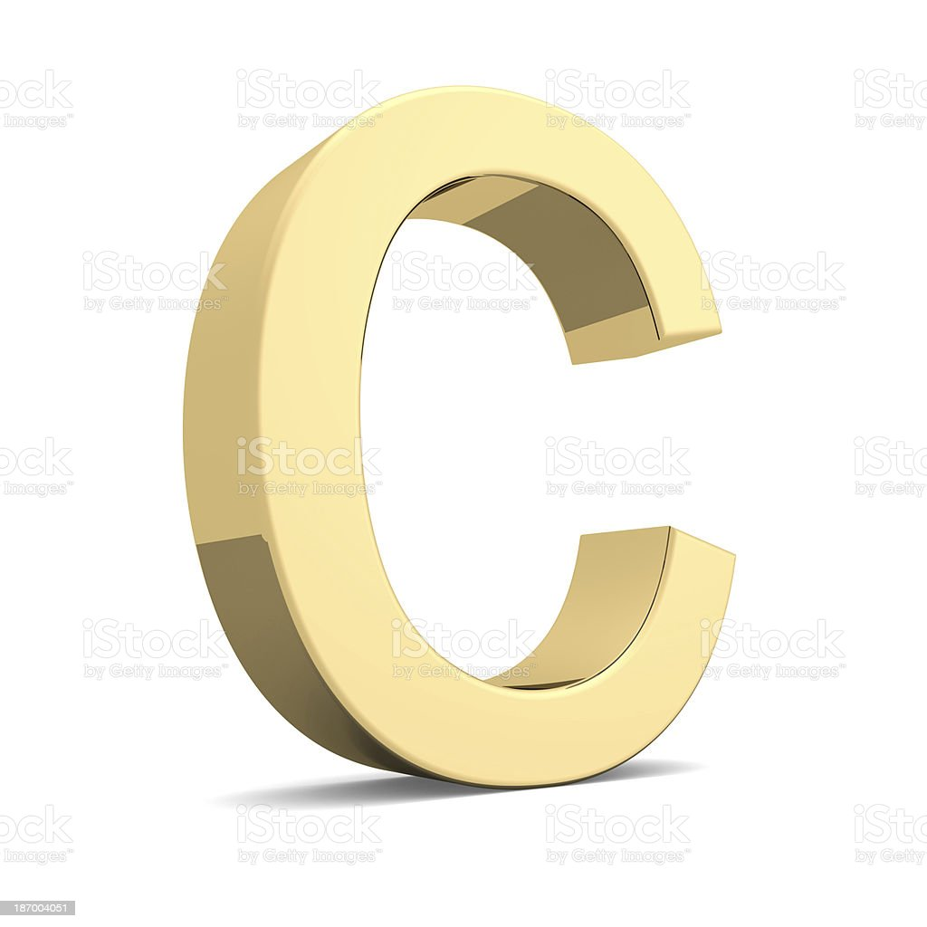 Gold letter C royalty-free stock photo
