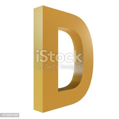 istock 3D Gold Letter D 512001432