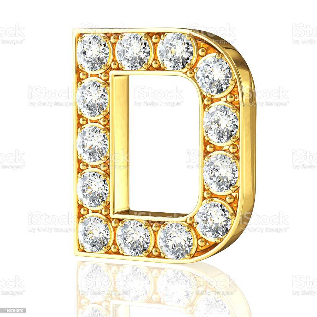 Gold Letter D With Diamonds Stock Photo - Download Image ...