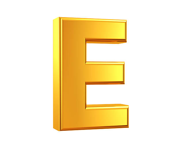 Gold Letter E stock photo