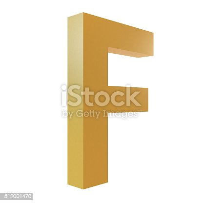 istock 3D Gold Letter F 512001470